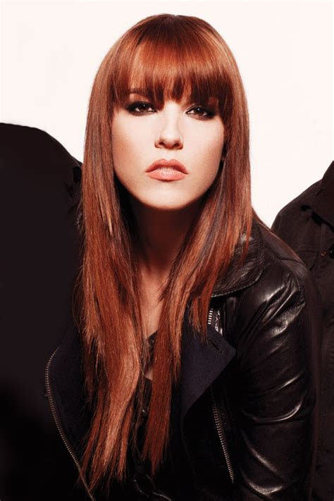 Lzzy Hale Straight Auburn Angled, Straight Bangs Hairstyle