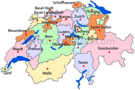 Switzerland Cantons and Map - Switzerland Hotels and