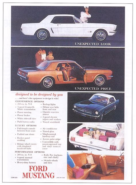 1964 Ford Mustang Ad - USA   Covers the First year for the
